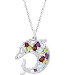 """multi-gemstone openwork dolphin 18"""" pendant necklace (2-1/8 ct. t.w.) in sterling silver"""