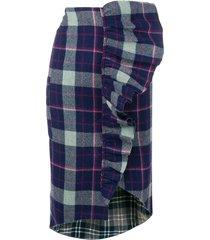 natasha zinko ruffled plaid skirt - blue