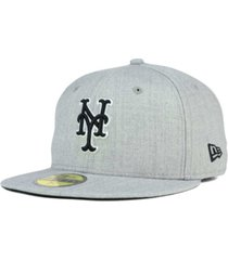 new era new york mets heather black white 59fifty fitted cap
