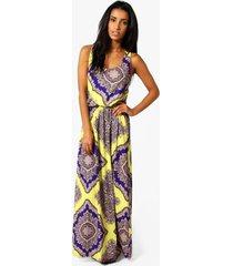 neon paisley maxi jurk met racer rug, meerdere