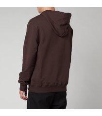lanvin men's paris embroidered hoodie - dark brown - xl