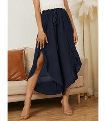 yoins pantalones anchos de cintura con cordón azul marino