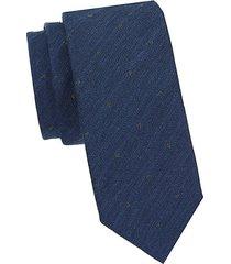 textured polka dot linen-blend tie