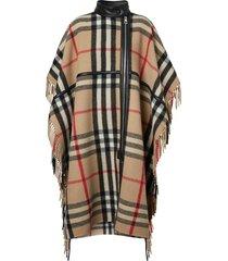 burberry check zip-front cape - neutrals