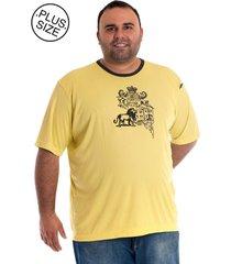 camiseta konciny manga curta plus size amarelo