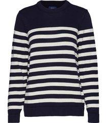 d1. striped cotton crew gebreide trui blauw gant
