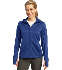 sport-tek l248 tech fleece ladies full-zip hooded jacket - true royal