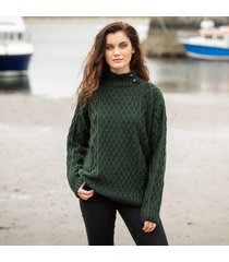 womens glengarriff green aran sweater small