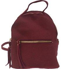 mini mochila real arte camurça sintético vermelha - tricae