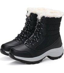 mujeres botas de nieve de la plataforma de invierno de las mujeres -negro