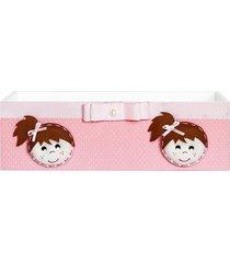 cesta boneca poá rosa mdf - rosa - brincadeiras