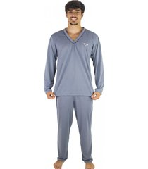 pijama mvb modas adulto blusa manga comprida e calça cinza