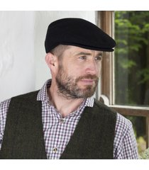 irish wool trinity flat cap black large