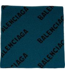 balenciaga woman petrol green scarf with all-over logo