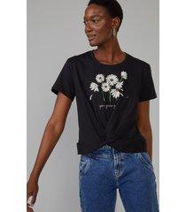 t-shirt amaro margarette torcido cintura preto - preto - feminino - dafiti
