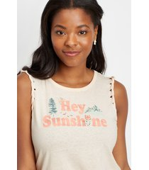 maurices womens light pink hey sunshine graphic tank top