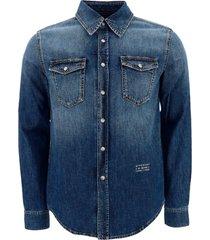 camicia uomo maniche lunghe in denim jeans