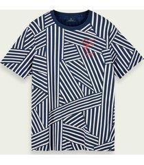 scotch & soda t-shirt van 100% katoen met korte mouwen en patroon