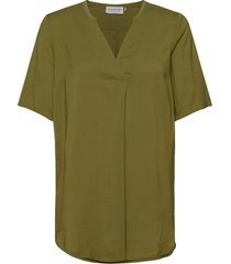 blouse ss blouses short-sleeved grön rosemunde