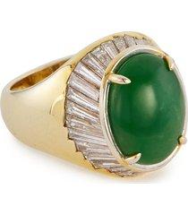 'cab' diamond jade 18k yellow gold ring