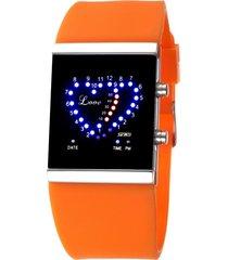 reloj en forma de corazón a prueba de agua-naranja