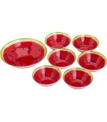 conjunto 1 bowls de 24cm e 6 bowls de 15cm de vidro p/sobremesa - linha melancia vermelha