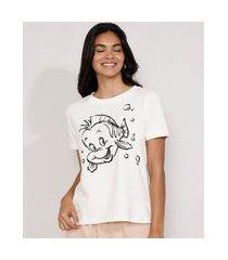 camiseta feminina manga curta linguado a pequena sereia decote redondo off white