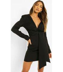 blazer jurk met strik en lange mouwen, black