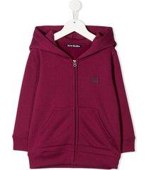 acne studios mini ferris zip hoodie - pink