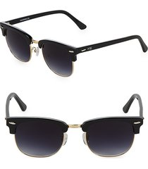 aqs women's tinted 51mm round sunglasses - brown blue