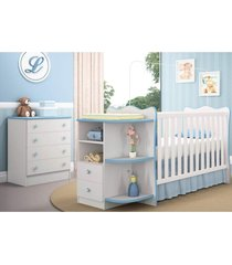 jogo quarto infantil cômoda e berço com cantoneira doce sonho branco/azul - qmovi
