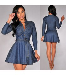 women slim fit denim jean dress plus size bowknot belt long sleeve dress