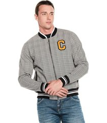 chaqueta bomber college gris oscuro