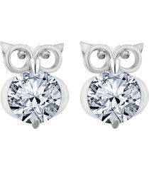 1 carat round diamond new screw back owl style stud earrings 18k white gold over