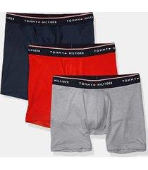 tommy hilfiger men's microfiber boxer brief 3pk grey/red/navy - l
