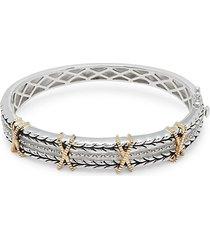 18k yellow gold embossed bangle bracelet