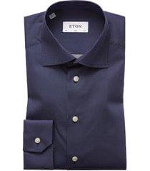 men's eton slim fit dot dress shirt, size 16.5 - blue