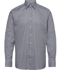 blue & navy overcheck flannel shirt skjorta casual blå eton