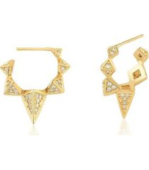 meia argola estelle semijoias triângulos com zircônias cravejadas banhada em ouro feminina - feminino