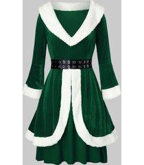 plus size faux fur grommets velvet christmas dress