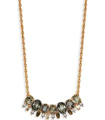alexis bittar women's goldplated pyrite & crystal bar pendant necklace