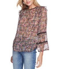 1.state floral-print ruffled lace-detail top