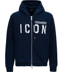 dsquared2 blue cotton hoodie with logo print