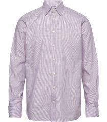 checked lighweight twill shirt with button under collar skjorta business lila eton