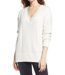 women's treasure & bond cable knit sweater, size xx-small - ivory