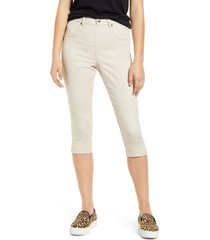 women's hue ultrasoft high waist capri denim leggings, size large - white