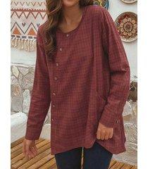 camicetta casual da donna a maniche lunghe con bottoni scozzesi collo