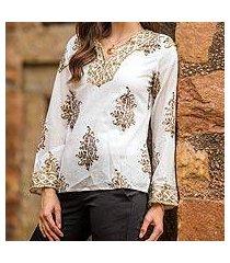 beaded cotton tunic, 'festive floral paisley' (india)