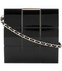 chanel pre-owned 2002-2003 choco bar chain party clutch - black