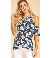 yoins blusa azul de manga corta con estampado floral al azar